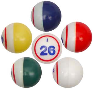 DELUXE 5 Color Single Number Bingo Balls