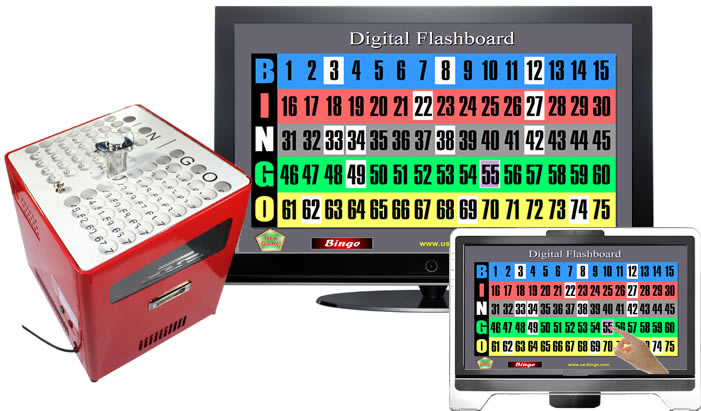 Digital Bingo Flashboard and Professional Table Top Bingo Blower